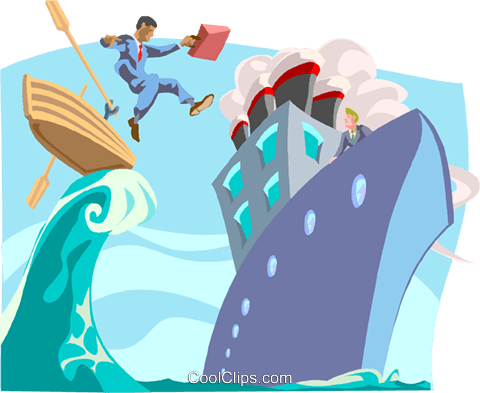 Jumping ship Royalty Free Vector Clip Art illustration busi2100