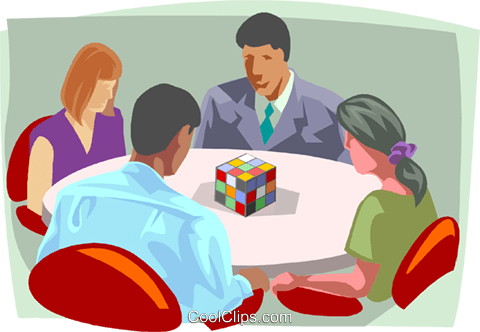 Business meeting, problem solving Royalty Free Vector Clip Art illustration busi2102