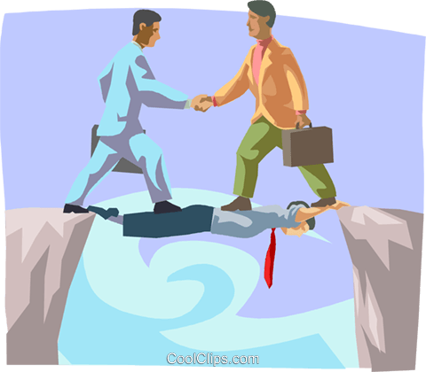 businessmen walking across a bridge Royalty Free Vector Clip Art illustration busi2104