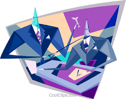 businessman discussing an idea Royalty Free Vector Clip Art illustration busi2112