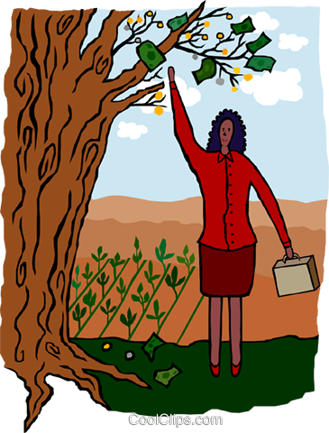 woman picking money off a tree Royalty Free Vector Clip Art illustration busi2117