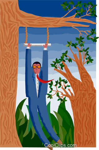 man swinging from a branch Royalty Free Vector Clip Art illustration busi2120