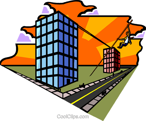metaphor man pole vaulting buildings Royalty Free Vector Clip Art illustration busi2124