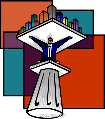 man on a pedestal holding a city Royalty Free Vector Clip Art illustration busi2125