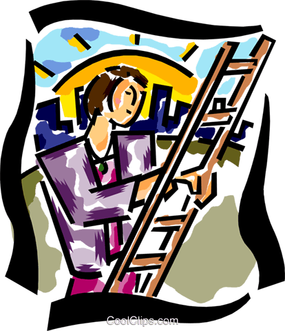 woman climbing a ladder of success Royalty Free Vector Clip Art illustration busi2135