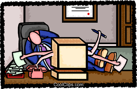 relaxing as his system does all the work Royalty Free Vector Clip Art illustration busi2139