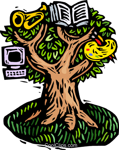 woodcut tree of creative knowledge Royalty Free Vector Clip Art illustration ente0194