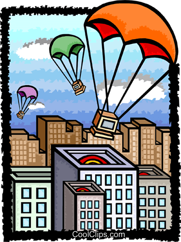 computers parachuting to earth, metaphor Royalty Free Vector Clip Art illustration busi2144