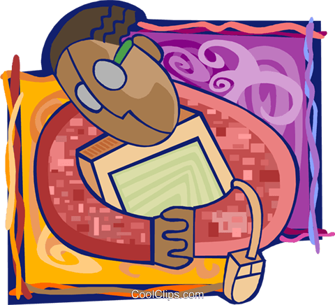 man clutching his notebook computer Royalty Free Vector Clip Art illustration busi2151