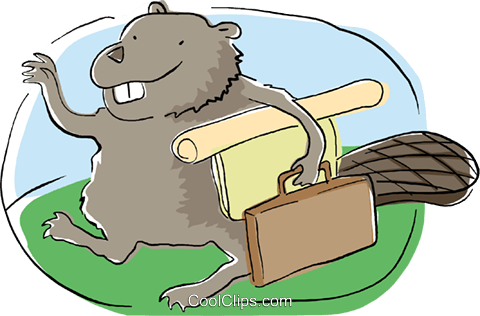business eager beaver on his way to work Royalty Free Vector Clip Art illustration busi2154
