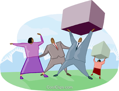 office workers carrying packages Royalty Free Vector Clip Art illustration busi2158