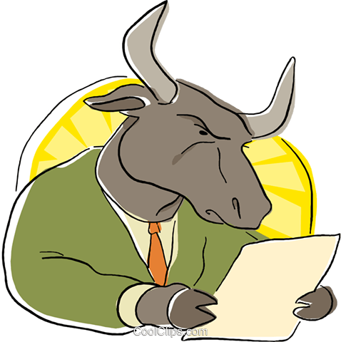 business bull reading the stock report Royalty Free Vector Clip Art illustration busi2159