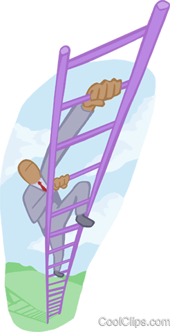 man climbing the ladder of success Royalty Free Vector Clip Art illustration busi2160