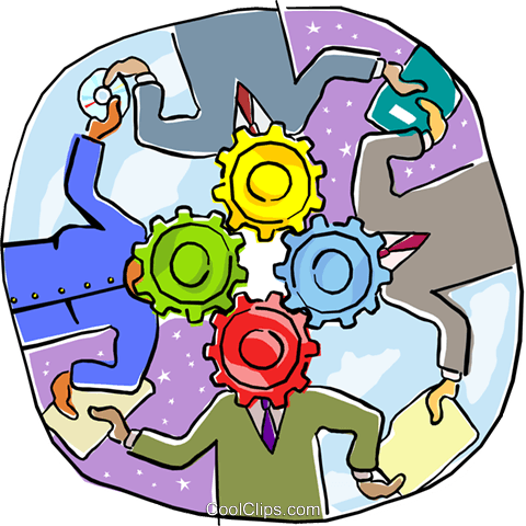 depicting the gears of business Royalty Free Vector Clip Art illustration busi2161