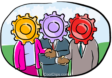 depicting the gears of business Royalty Free Vector Clip Art illustration busi2162