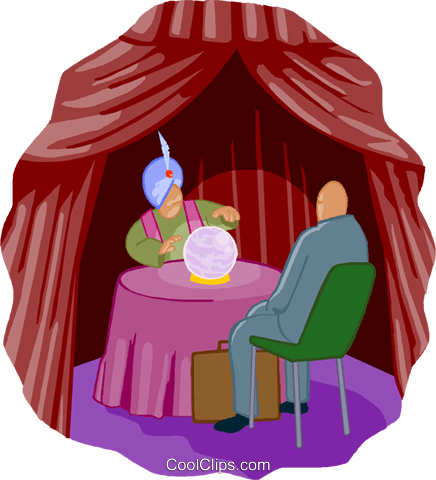 crystal ball with fortune teller Royalty Free Vector Clip Art