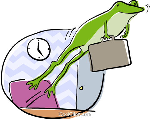 frog jumping from its desk Royalty Free Vector Clip Art illustration busi2166