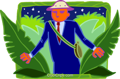 business man in jungle Royalty Free Vector Clip Art illustration busi2170