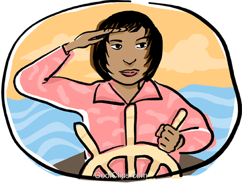 woman at the helm of a ship Royalty Free Vector Clip Art illustration busi2173