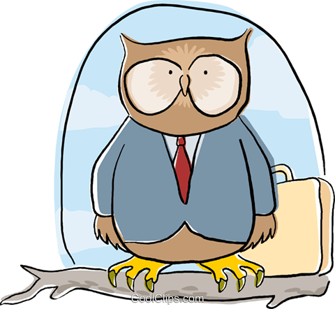 business wise owl sitting on a branch Royalty Free Vector Clip Art illustration busi2175