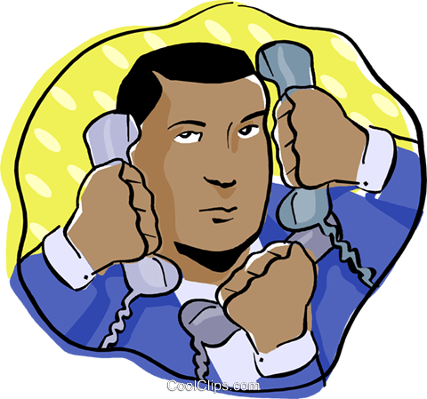 man with multiple phones Royalty Free Vector Clip Art illustration busi2178