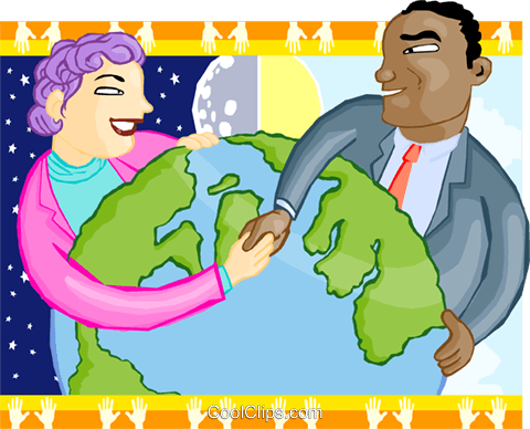 shaking hands around the world Royalty Free Vector Clip Art illustration busi2182