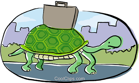 turtle with a briefcase Royalty Free Vector Clip Art illustration busi2184