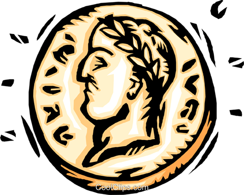 coin with Caesar's head Royalty Free Vector Clip Art illustration busi2188