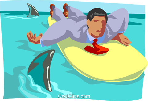 surfer in shark-infested waters Royalty Free Vector Clip Art illustration busi2203