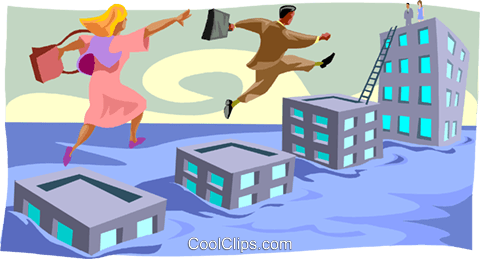 man and woman stepping over buildings Royalty Free Vector Clip Art illustration busi2204