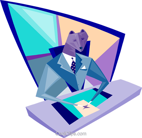 businessman sitting at his desk Royalty Free Vector Clip Art illustration busi2213