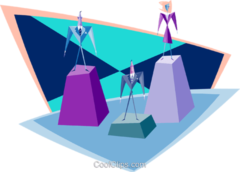 man and woman on a pedestal Royalty Free Vector Clip Art illustration busi2221