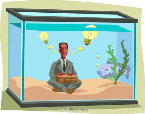 man in a fish tank with a good idea Royalty Free Vector Clip Art illustration busi2229