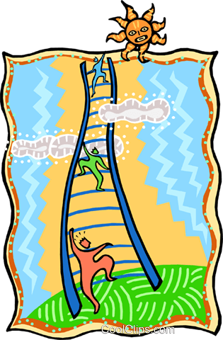 climbing the ladder of success Royalty Free Vector Clip Art illustration busi2235