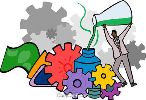 grinding a formula through gears Royalty Free Vector Clip Art illustration busi2239