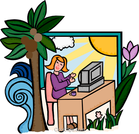 making your work place comfortable Royalty Free Vector Clip Art illustration busi2240
