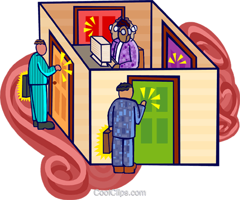 knocking on doors Royalty Free Vector Clip Art illustration busi2246
