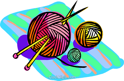 Yarn with knitting needles Royalty Free Vector Clip Art illustration hous1460