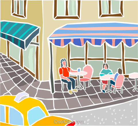 street cafe scene Royalty Free Vector Clip Art illustration arch0585