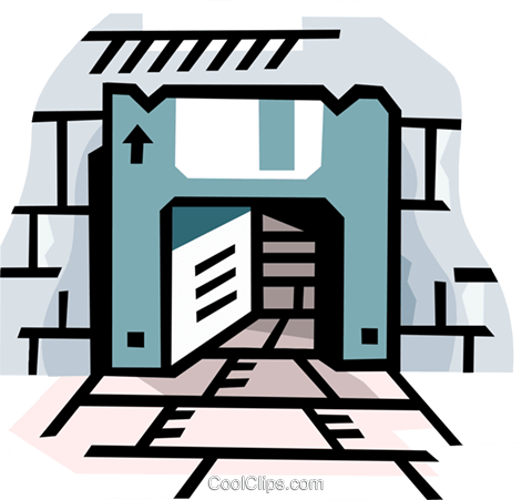 Computer disk as doorway Royalty Free Vector Clip Art illustration busi2261