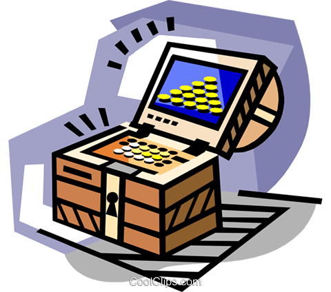 Treasure in treasure chest Royalty Free Vector Clip Art illustration busi2265