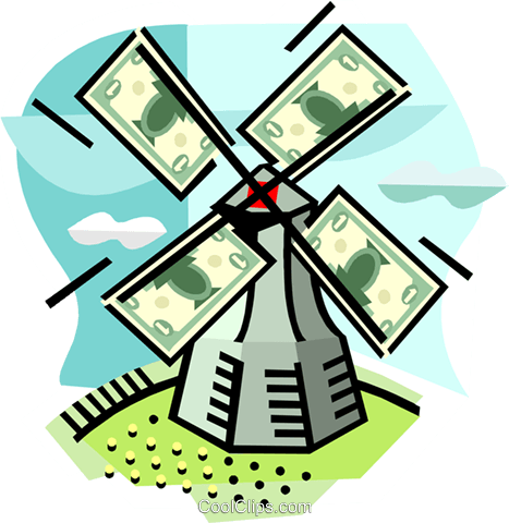 Windmill with money Royalty Free Vector Clip Art illustration busi2267