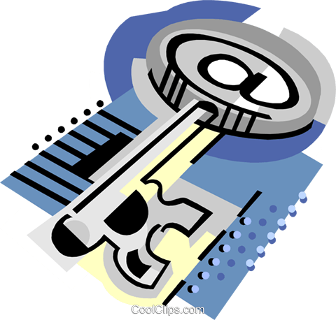Large key Royalty Free Vector Clip Art illustration busi2272