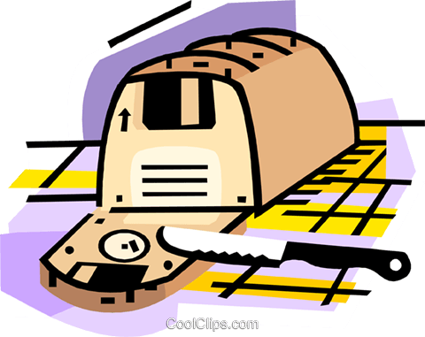 Loaf of bread with sliced disks Royalty Free Vector Clip Art illustration busi2275