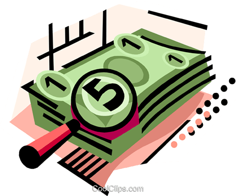 Stack of money magnified Royalty Free Vector Clip Art illustration busi2276