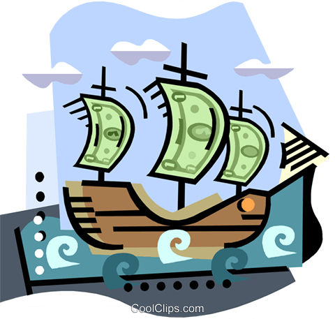 Boat with money sales Royalty Free Vector Clip Art illustration busi2280