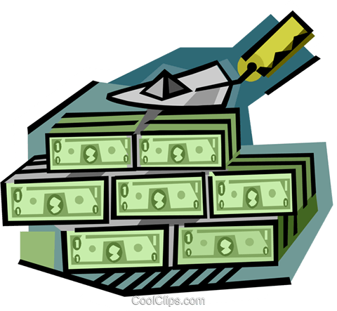 business finance a wall of money Royalty Free Vector Clip Art illustration busi2281