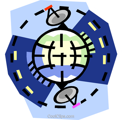 Satellites around the world Royalty Free Vector Clip Art illustration busi2282