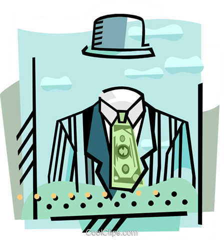 Invisible figure with money tie Royalty Free Vector Clip Art illustration busi2287