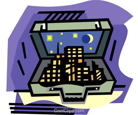 City in briefcase Royalty Free Vector Clip Art illustration busi2288